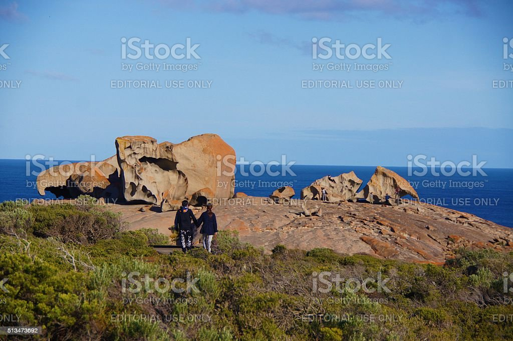 Scenic view of Remarkable Rocks, landmarks of Kangaroo Island, Adelaide, Australia stock photo