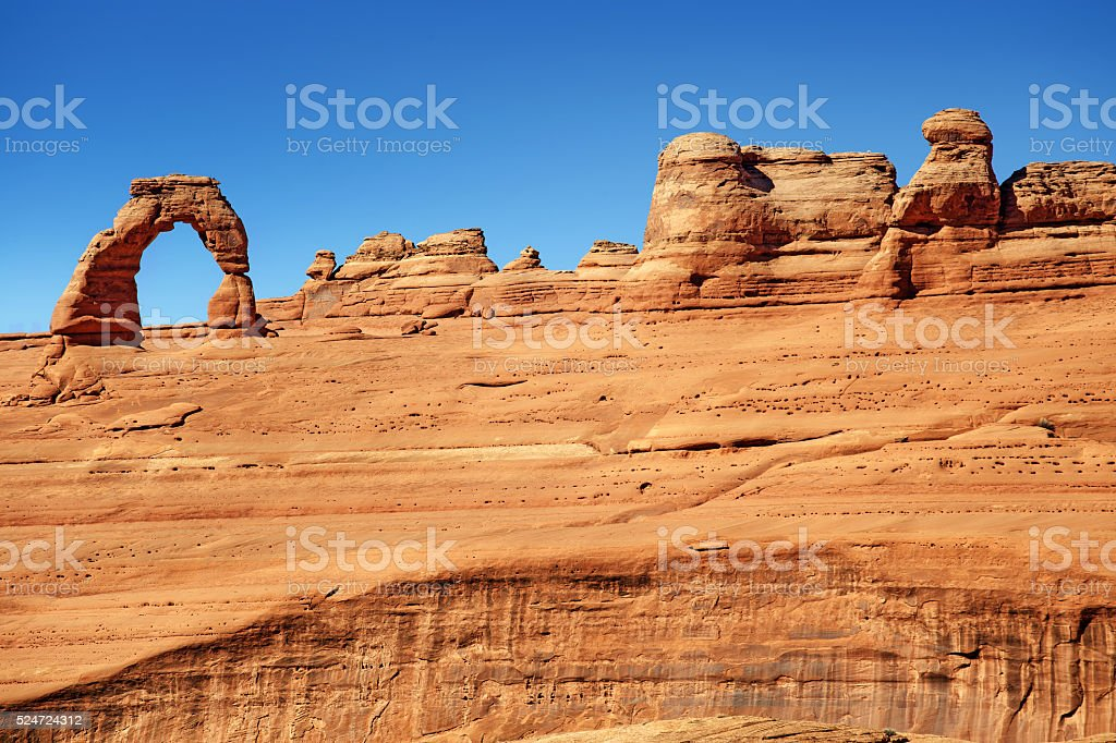 scenic view of rock formations in Arches National Park stock photo