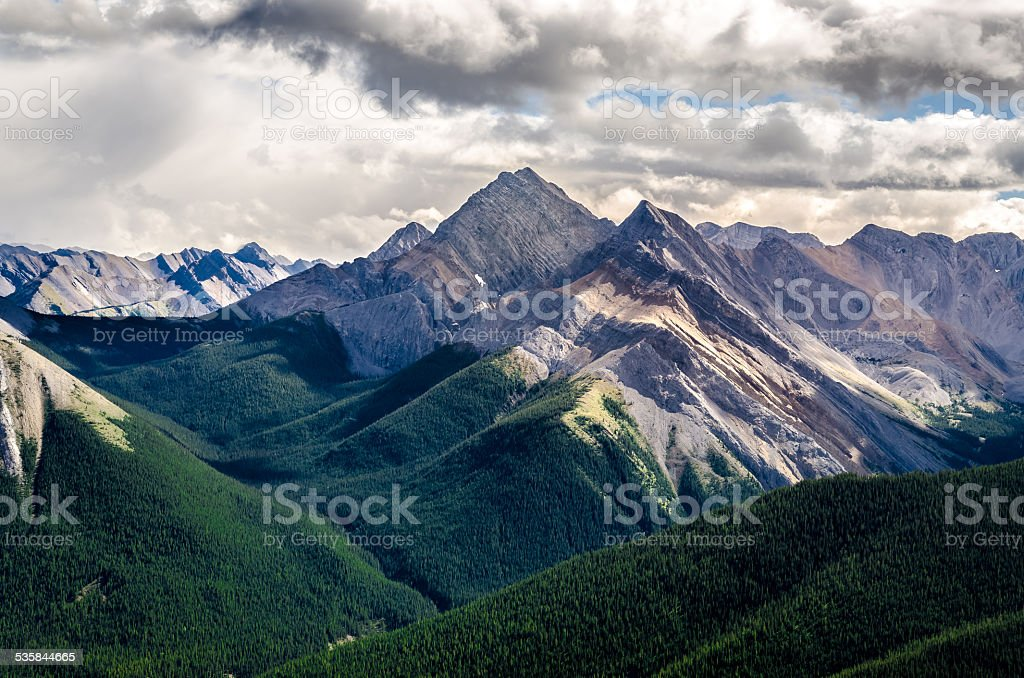 Scenic view of Rocky mountains range, Alberta, Canada stock photo