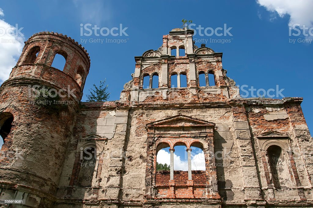 Scenic view of ruins Tworków castle in Poland stock photo