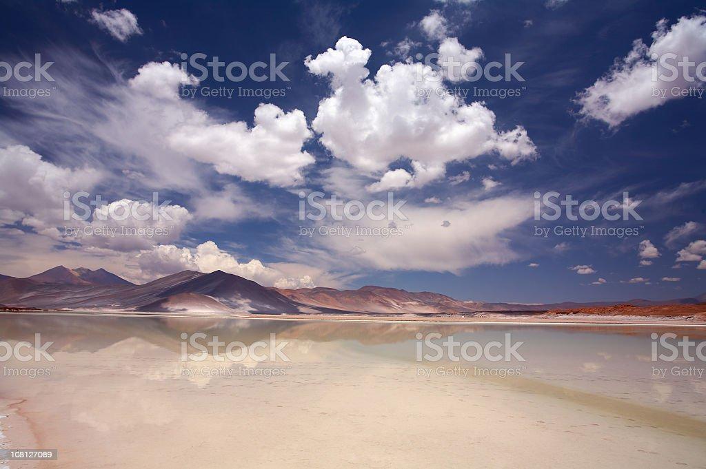 Scenic view of Salt Lake Salar de Altiplano, Atacama, Chile stock photo