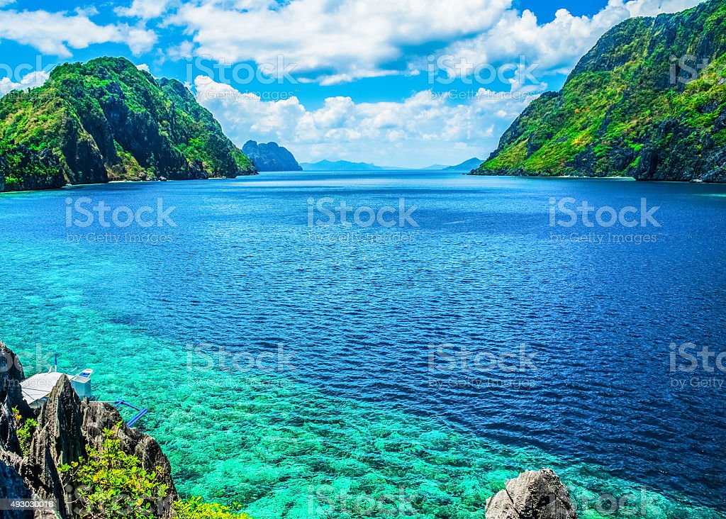 Scenic view of sea bay and mountain islands stock photo