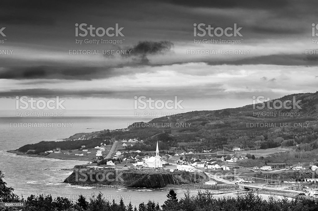 scenic view of small village in Quebec country stock photo