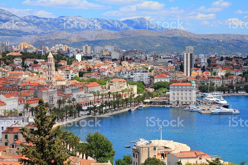 Scenic view of Split bay in Croatia stock photo