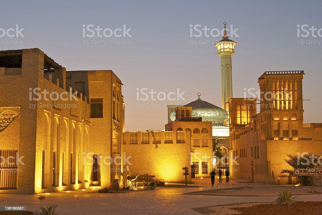 Scenic view of stone buildings and tower in Bastakiya stock photo