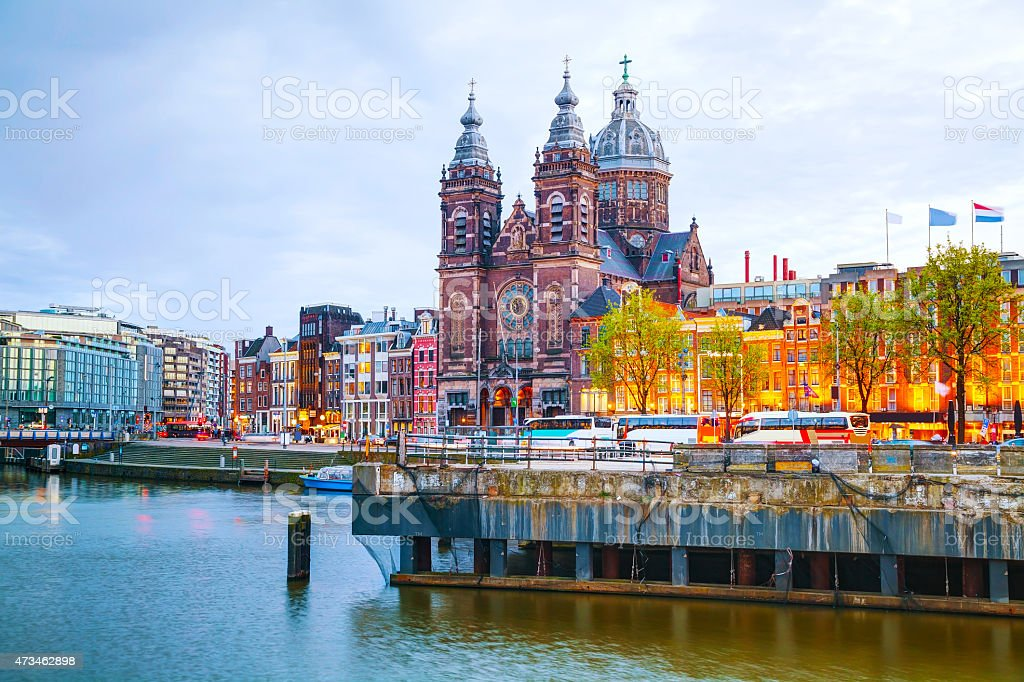 Scenic view of The Basilica of Saint Nicholas in Amsterdam stock photo