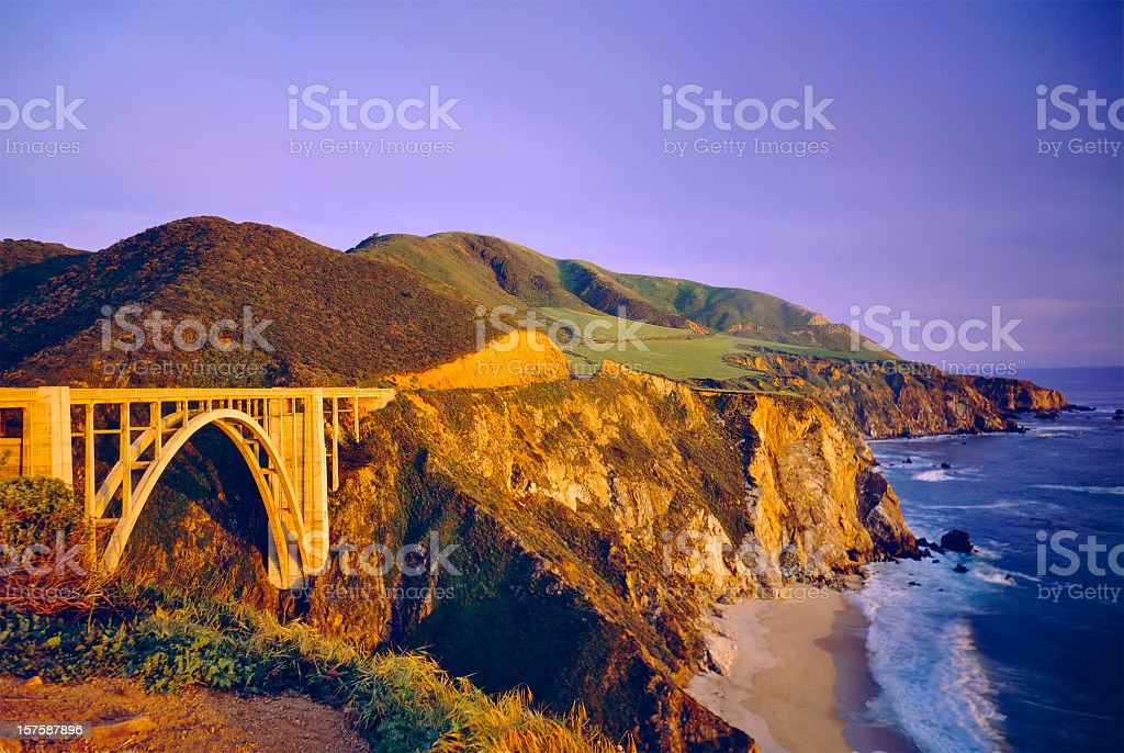 Scenic view of the Bixby Bridge on the California coastline stock photo