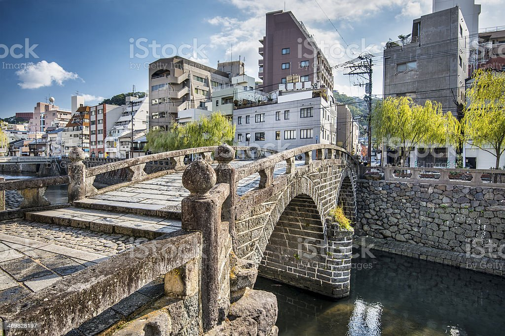 Scenic view of the city and a bridge in Nagasaki stock photo