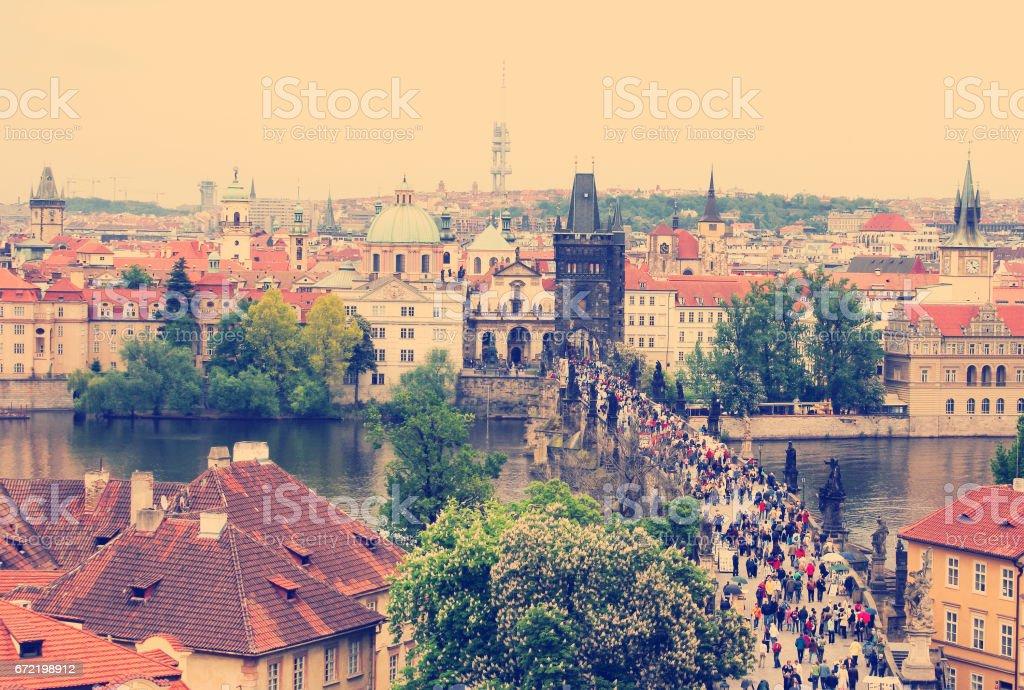 Scenic View of the famous Prague bridges stock photo