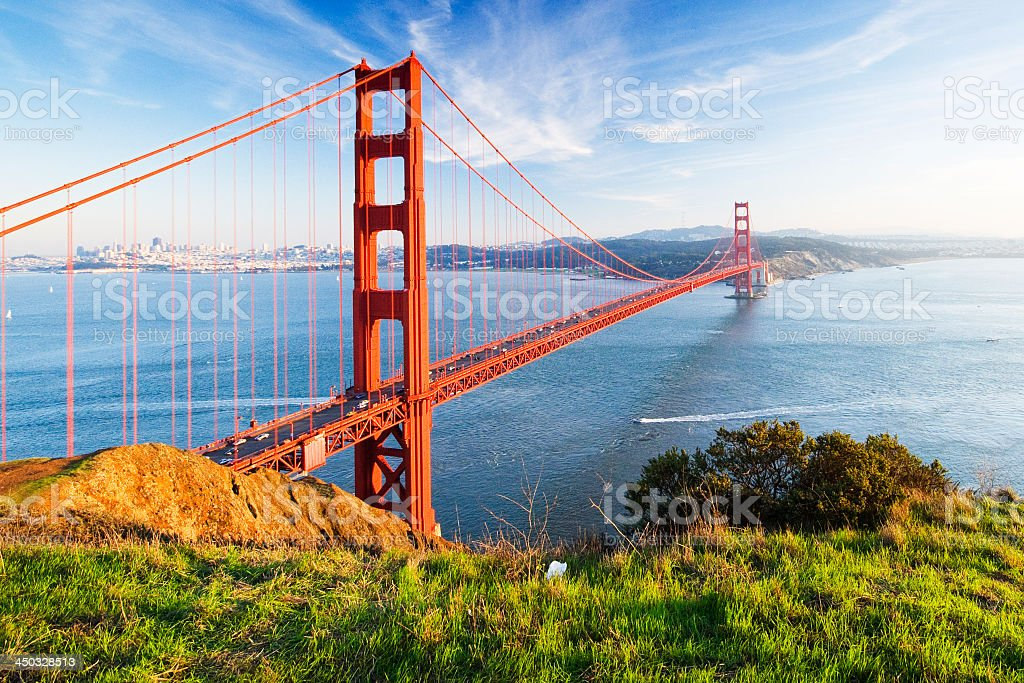 A scenic view of the Golden Gate Bridge stock photo