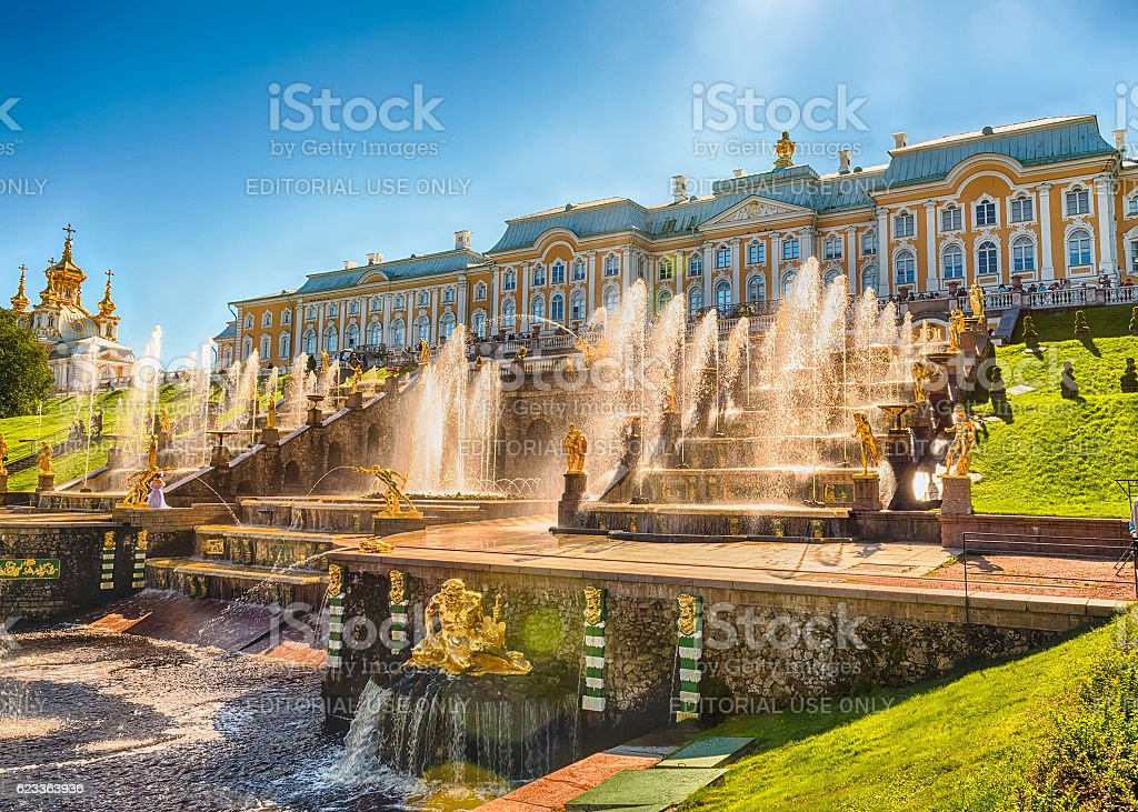 Scenic view of the Grand Cascade, Peterhof Palace, Russia stock photo
