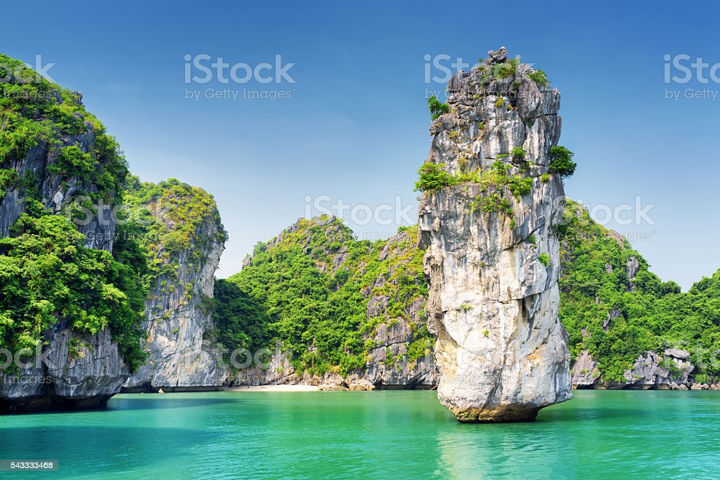 Scenic view of the Ha Long Bay stock photo