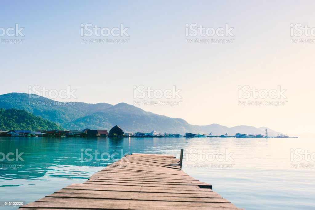 scenic view of the harbour with mountain background stock photo