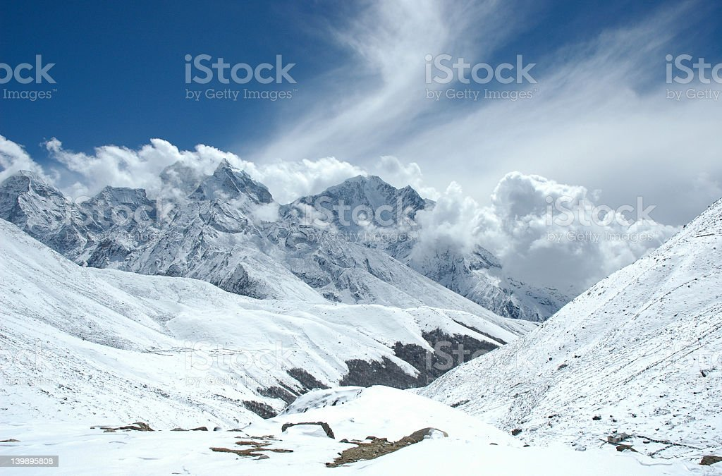 Scenic view of the Himalayan mountains on a bright day royalty-free stock photo