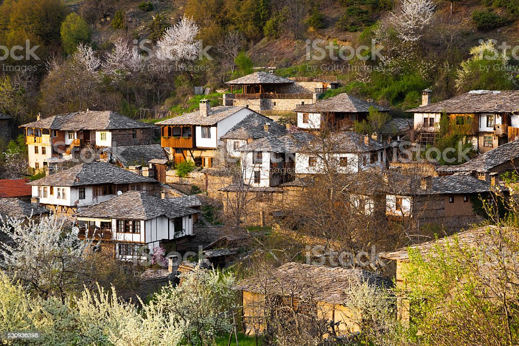 Scenic view of the historical village of Leshten stock photo