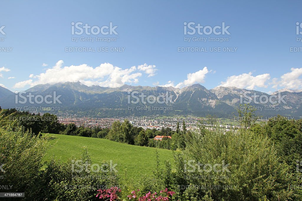 Scenic View of the Inntal and Innsbruck, summer royalty-free stock photo
