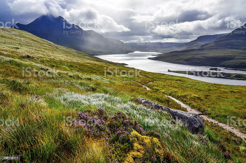 Scenic view of the lake and mountains, Inverpolly, Scotland stock photo