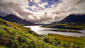 Scenic view of the lake and mountains, Inverpolly, Scotland, Uni
