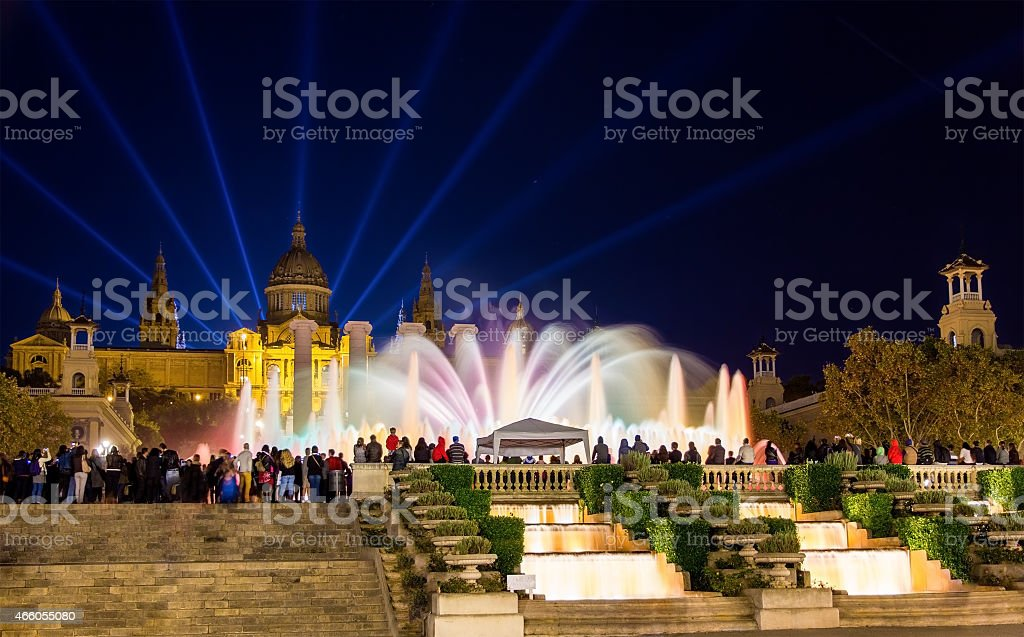 Scenic view of the Magic Fountain of Montjuic in Barcelona stock photo