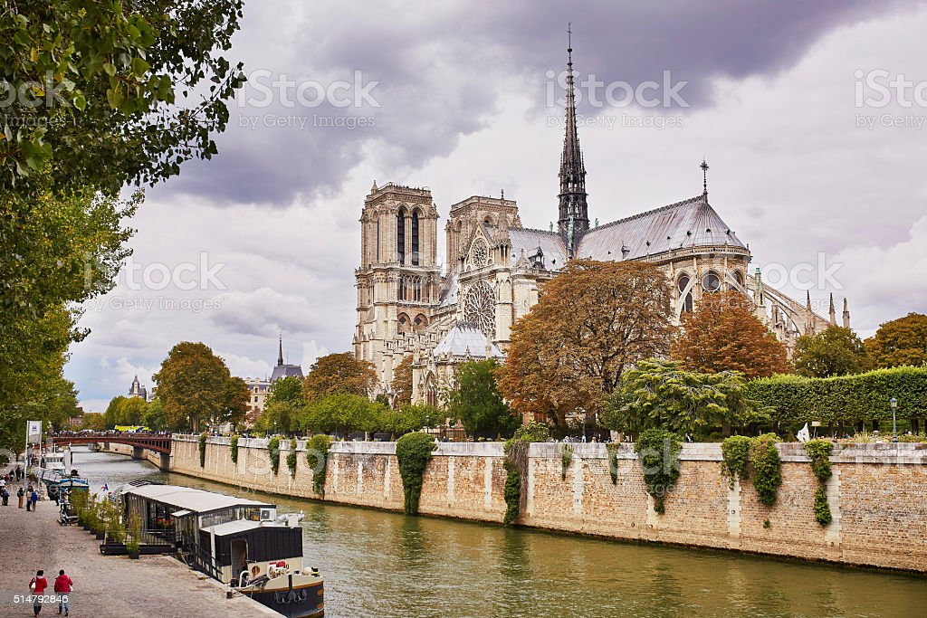 Scenic view of the Notre-Dame cathedral stock photo