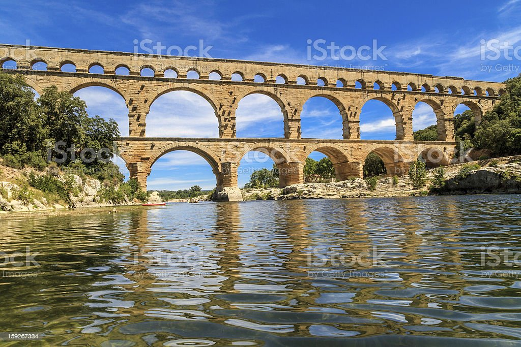 Scenic view of the Pont du Gard in Provence France stock photo