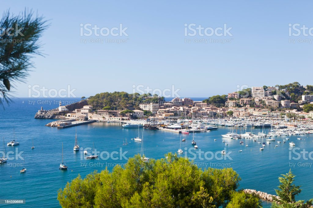 Scenic view of the Port de Soller Majorca stock photo