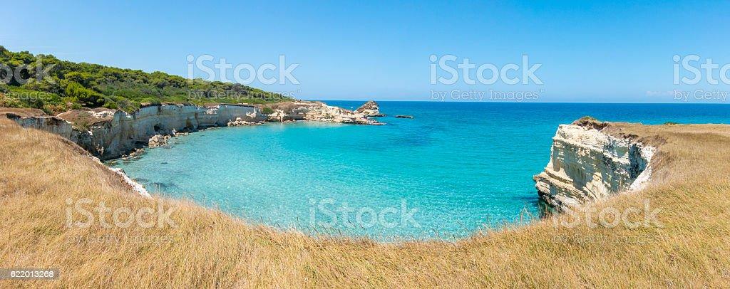 Scenic view of the rocky cliffs Torre Sant Andrea, Salento stock photo
