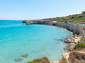 Scenic view of the rocky cliffs Torre Sant Andrea, Salento