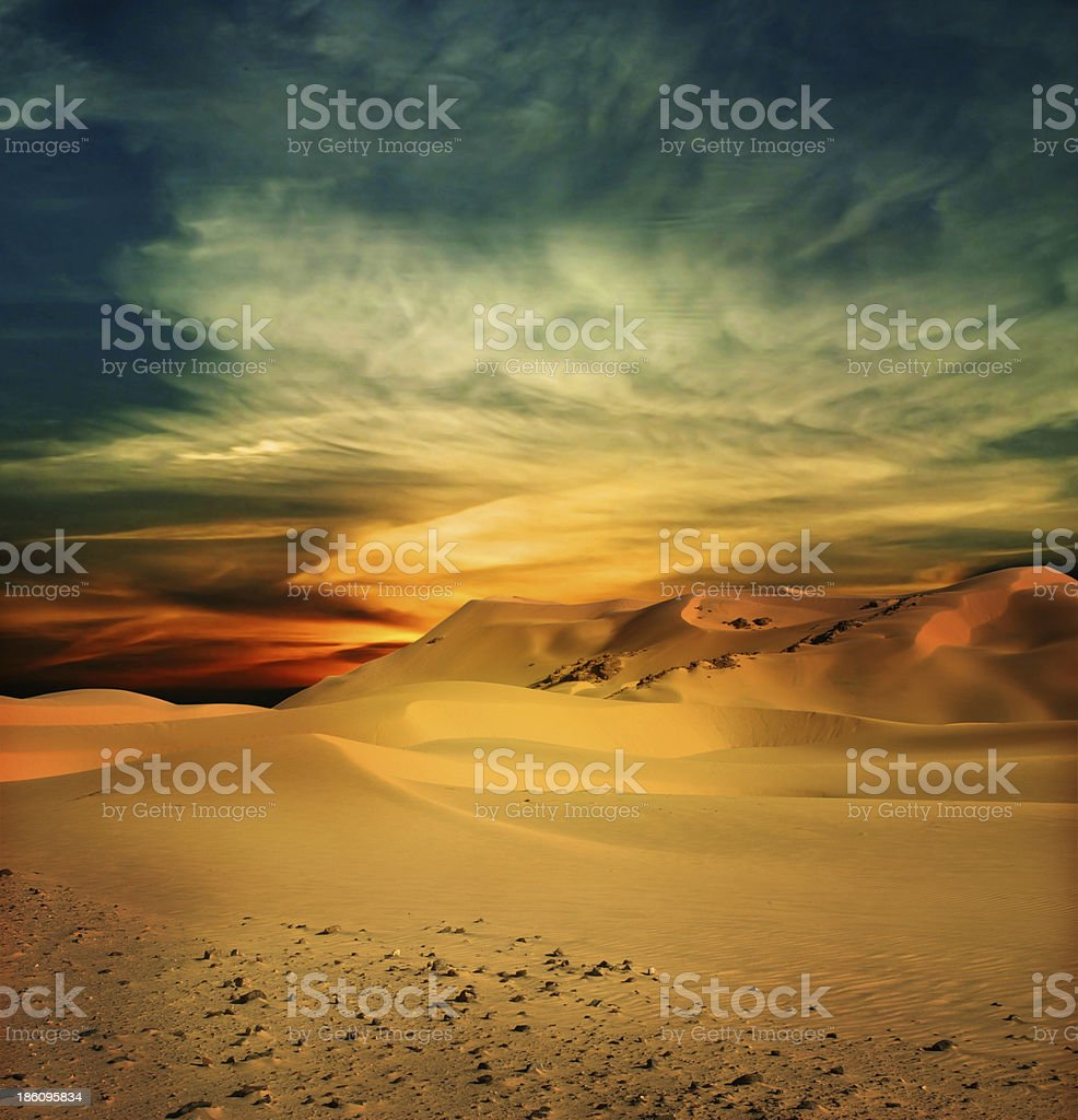 A scenic view of the Sahara Desert stock photo