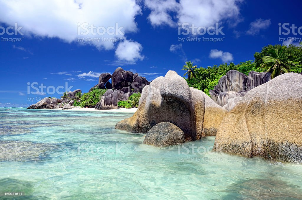 A scenic view of the seascape of Seychelles stock photo