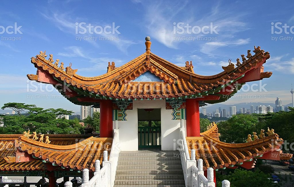 Scenic view of the Thean Hou Temple royalty-free stock photo