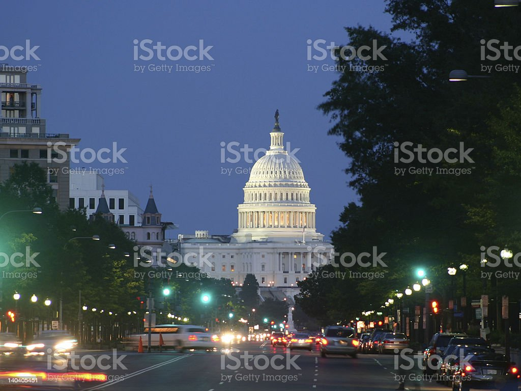 Scenic view of the United States Capitol at night stock photo