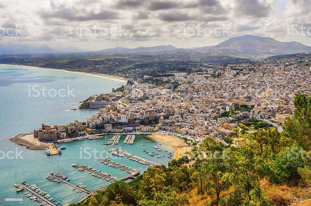 Scenic view of Trapani town and harbor in Sicily stock photo