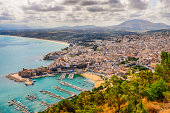 Scenic view of Trapani town and harbor in Sicily