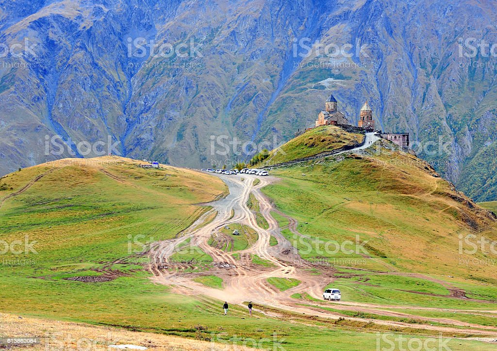 Scenic view of Trinity chapel in mountains stock photo