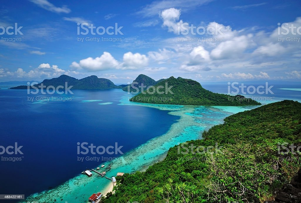 Scenic View of tropical islands Bohey Dulang Semporna, Sabah stock photo