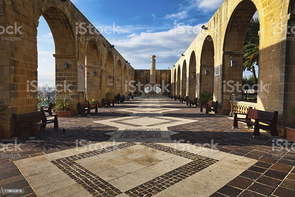Scenic view of Upper Barrakka Gardens, Malta stock photo