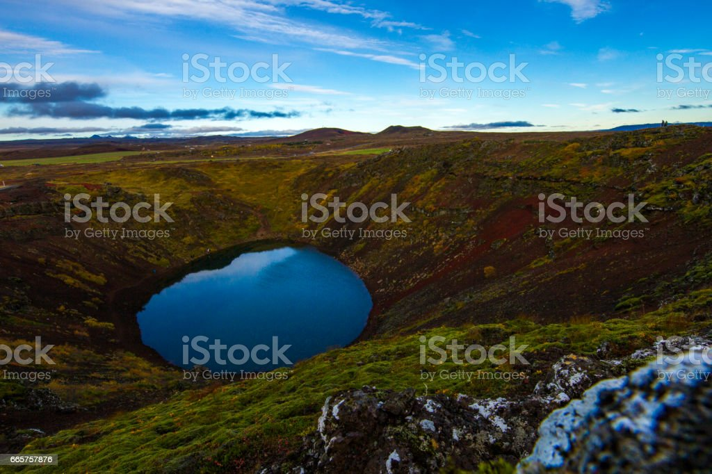 Scenic view of volcanic crater in Iceland stock photo