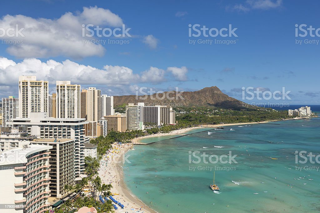 Scenic view of Waikiki Beach stock photo