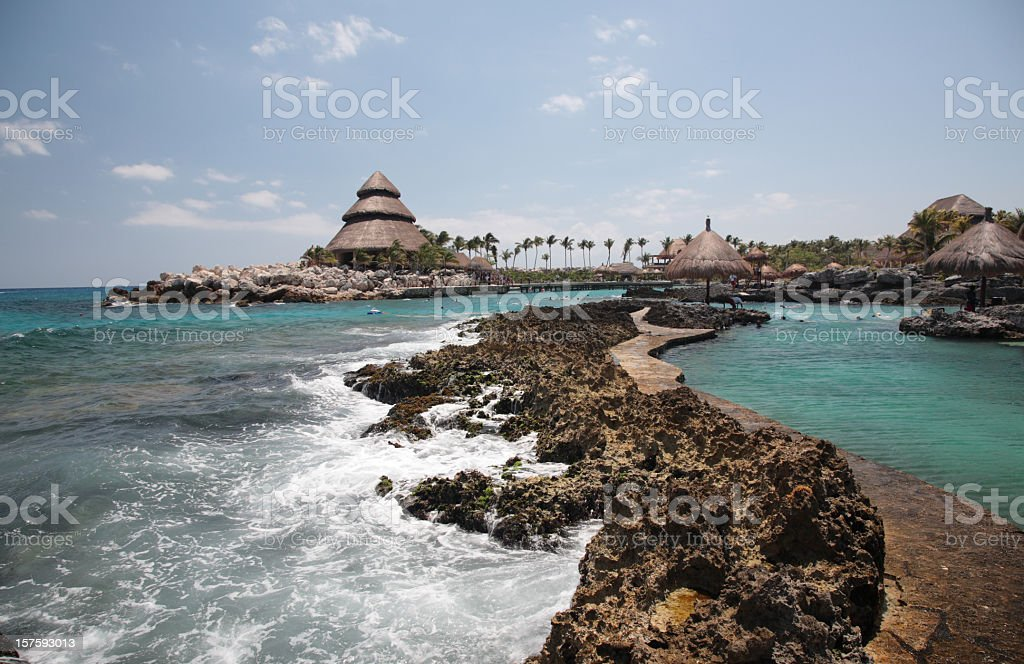 A scenic view of Xcaret with rocks and ocean stock photo