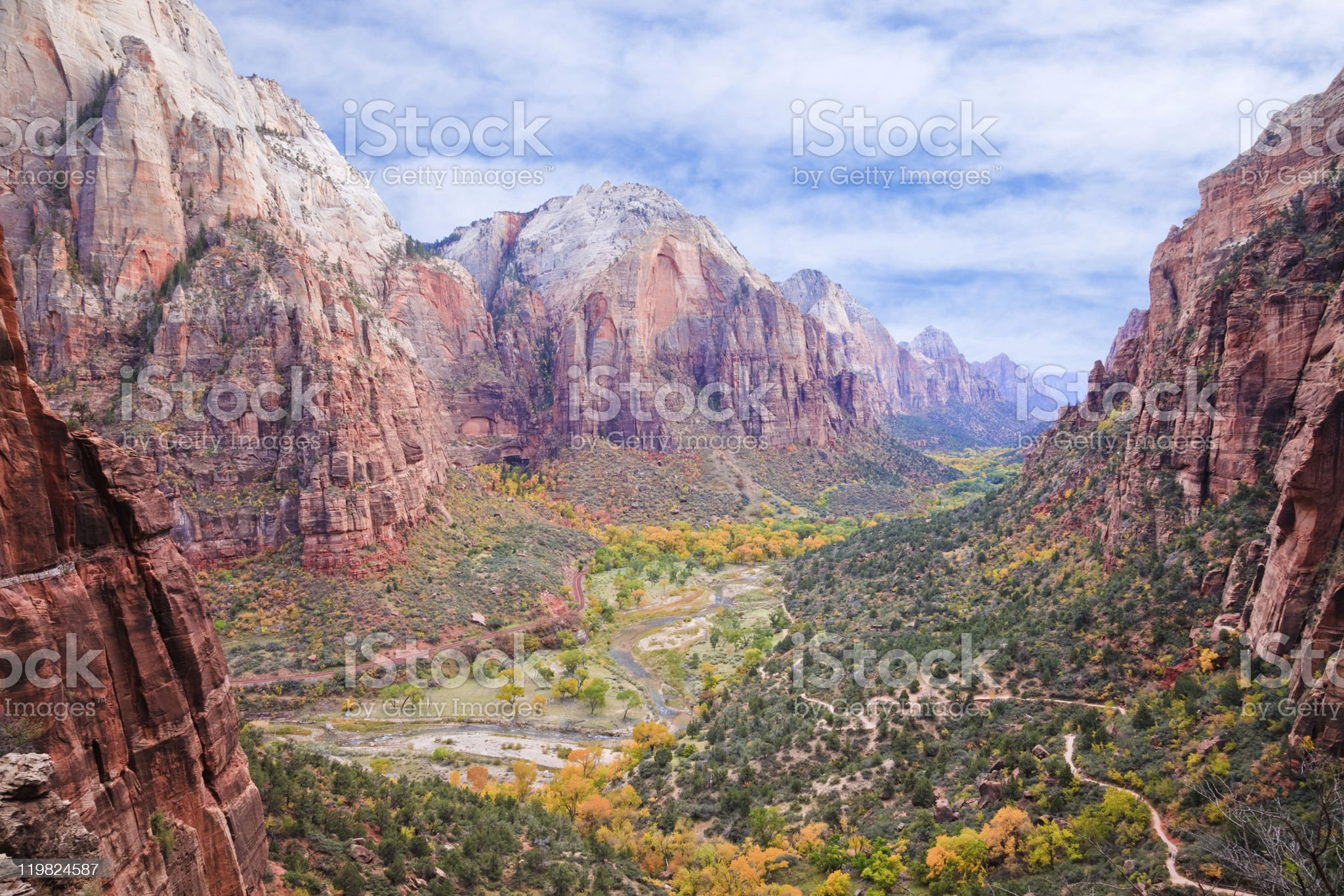 A scenic view of Zion Canyon in the day royalty-free stock photo