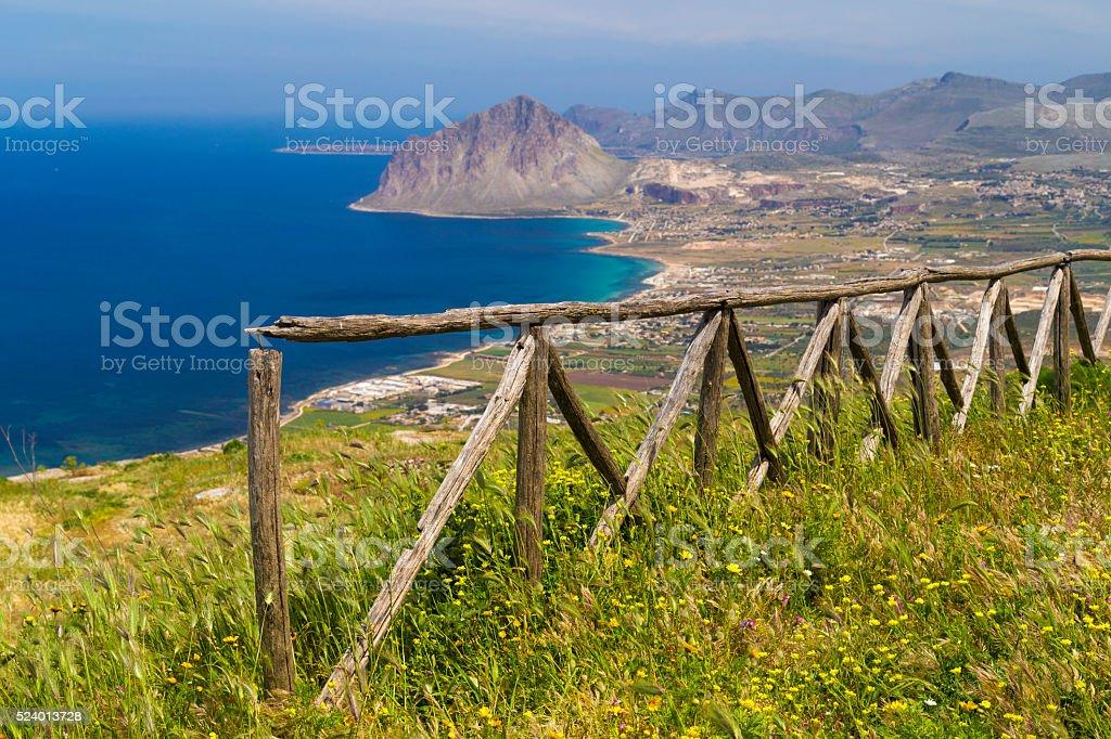 Scenic view on Monte Cofano in Erice, Sicily, Italy stock photo