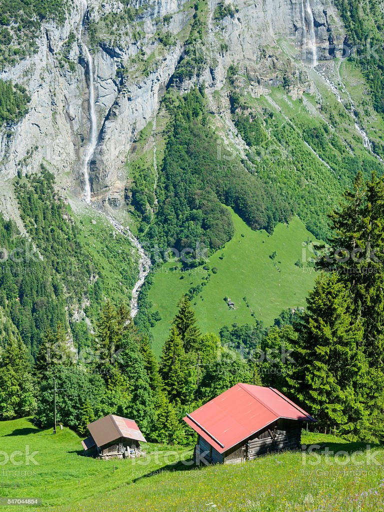 Scenic view on trekking route between Murren and Gimmelwald, Swi stock photo