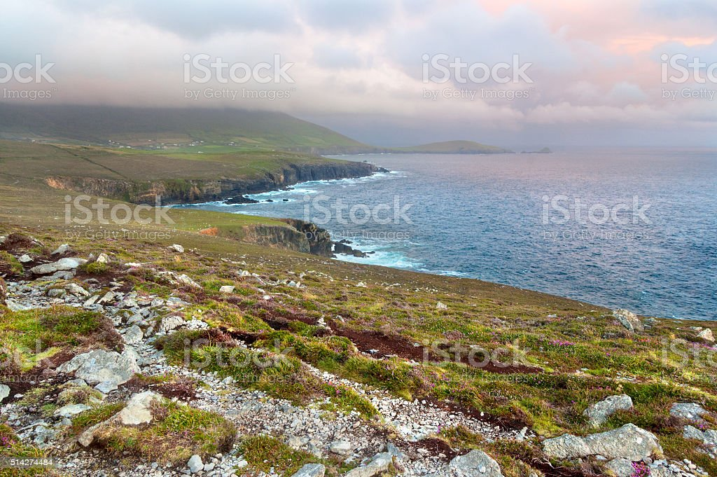 Scenic view over West coast of Ireland on Dingle peninsula stock photo