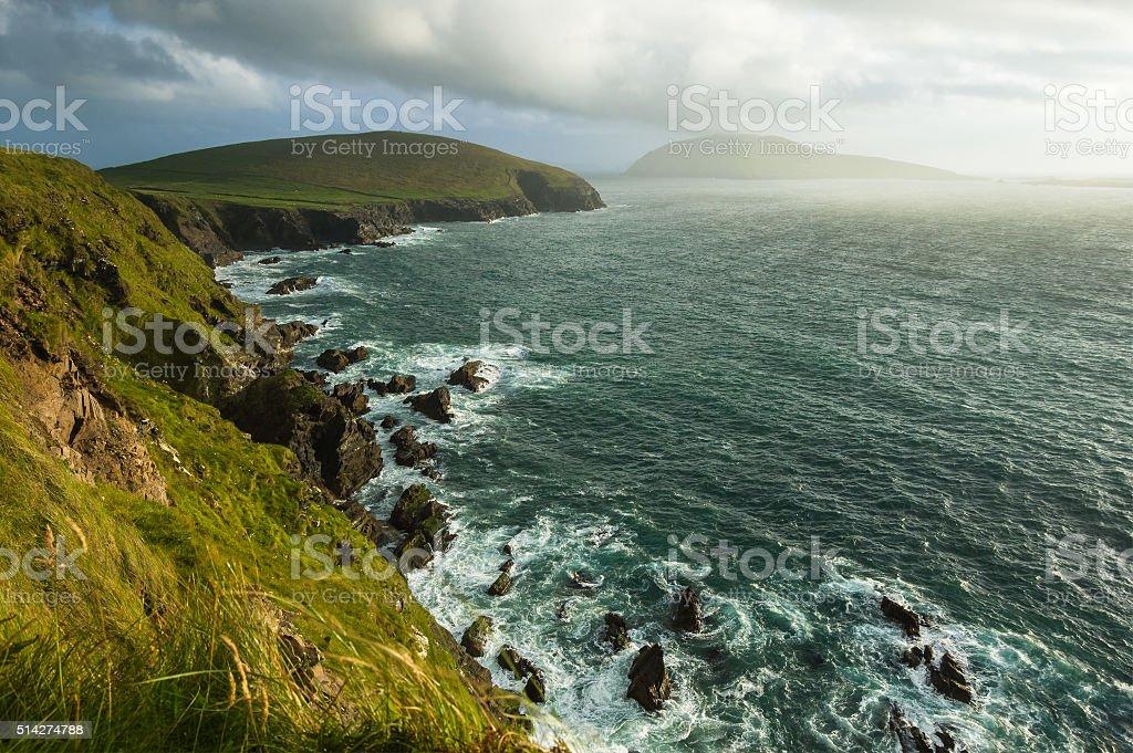 Scenic view over West coast of Ireland on Dingle peninsula stock photo