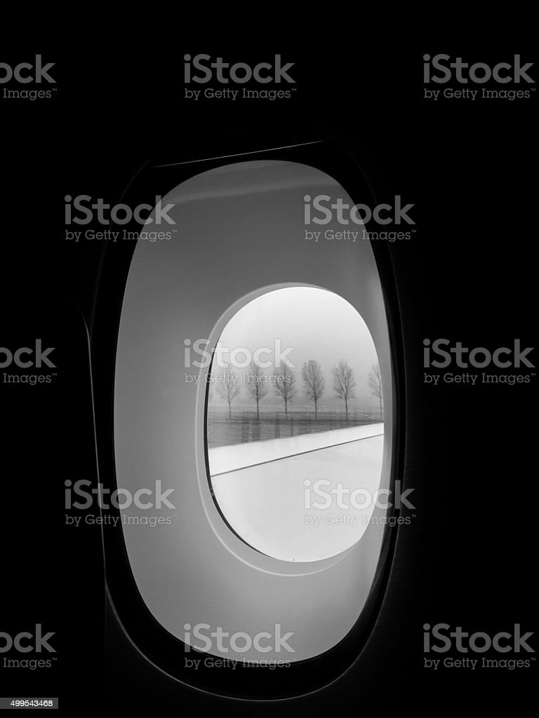 Scenic view through an aircraft window stock photo