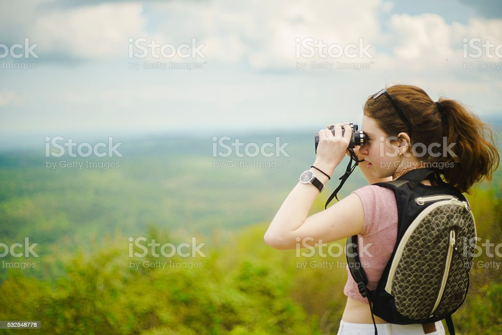 Scenic view to Great Smoky Mountains from Cherohala Skyway, Tennessee stock photo