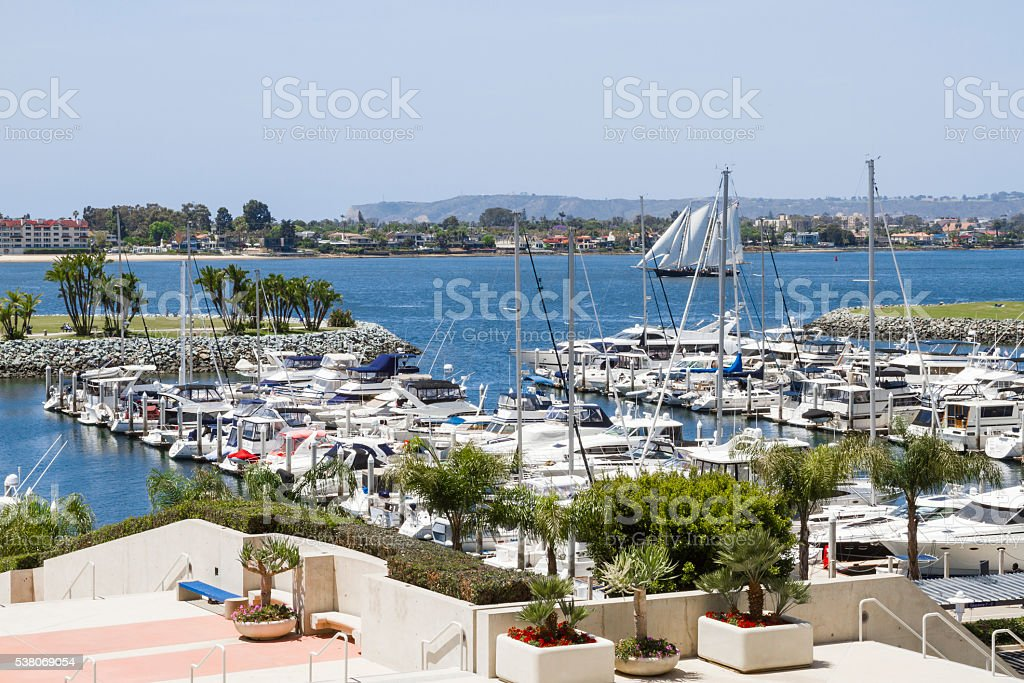 Scenic View--Embarcadero Marina Park San Diego With Schooner Passing By stock photo