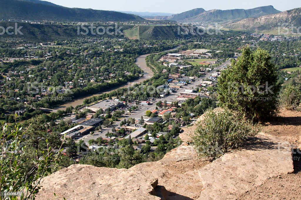 Scenic viewpoint over the community of Durango, Colorado stock photo
