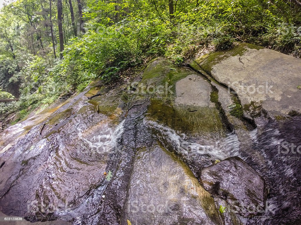 scenic views along hiking trailat table rock mountain south caro stock photo